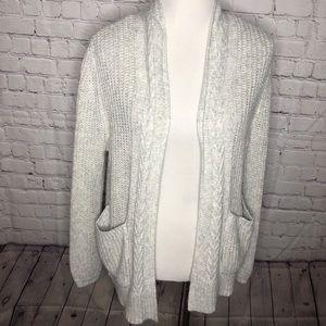Light Grey Open Front Cardigan